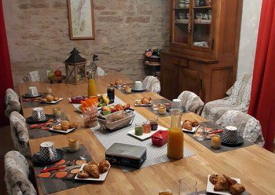 Petit déjeuner à la maison d'hôtes